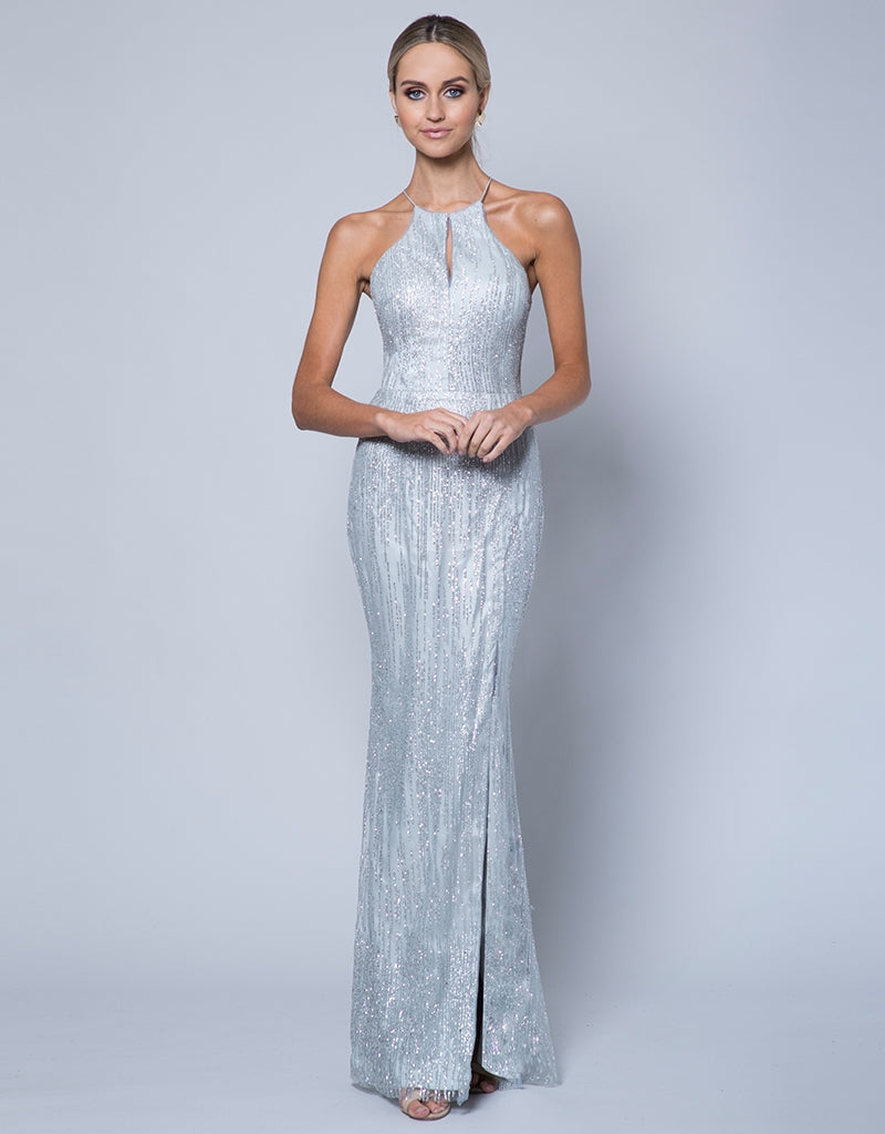 OSCAR HIGH NECK GLITTER GOWN B35D66-L