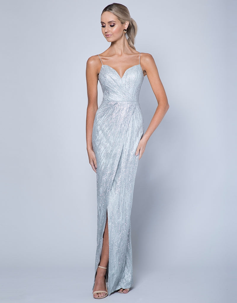 ROMANCE WRAP DRAPED GLITTER GOWN