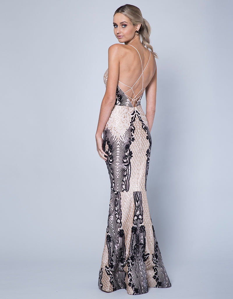 ASPEN SCOOP NECK PATTERN SEQUIN GOWN B35D27LOB