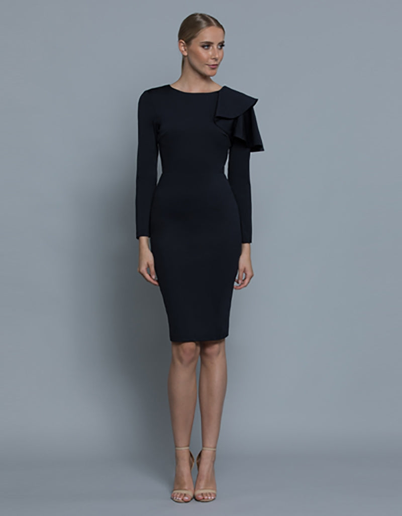 TAYLOR LONG SLEEVE DRAPE DRESS