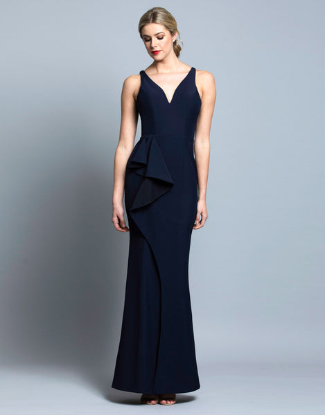 KELLY V-NECK RUFFLE GOWN B36D57-L