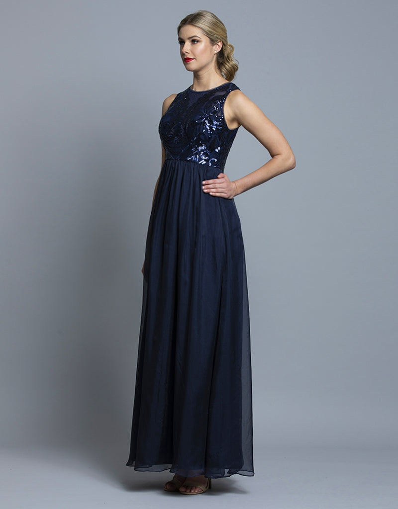 KELLY SEQUIN BODICE GOWN B36D14-L