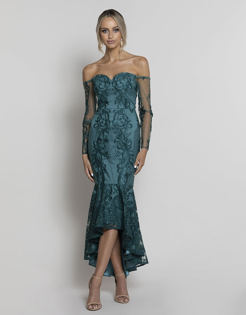BLAKE OFF SHOULDER TRUMPET DRESS