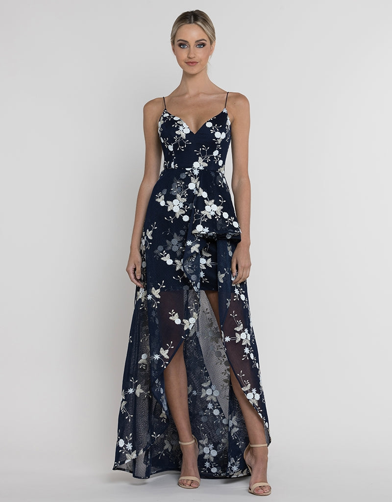 FLORENCE WATERFALL MESH GOWN B37D35-HL