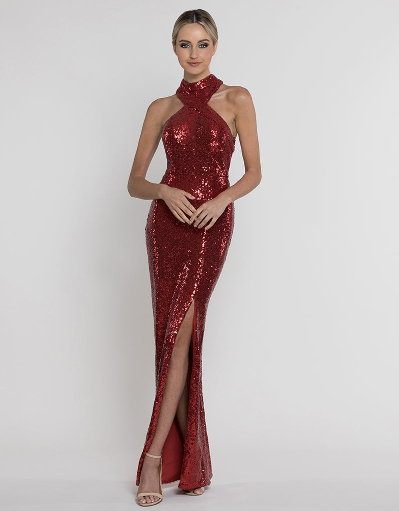 JORJA WRAP NECK SEQUN GOWN B37D07-L