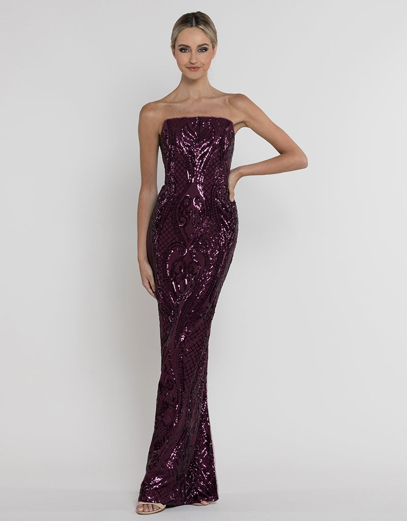 AMY STRAPLESS PATTERN SEQUIN GOWN B37D11-L