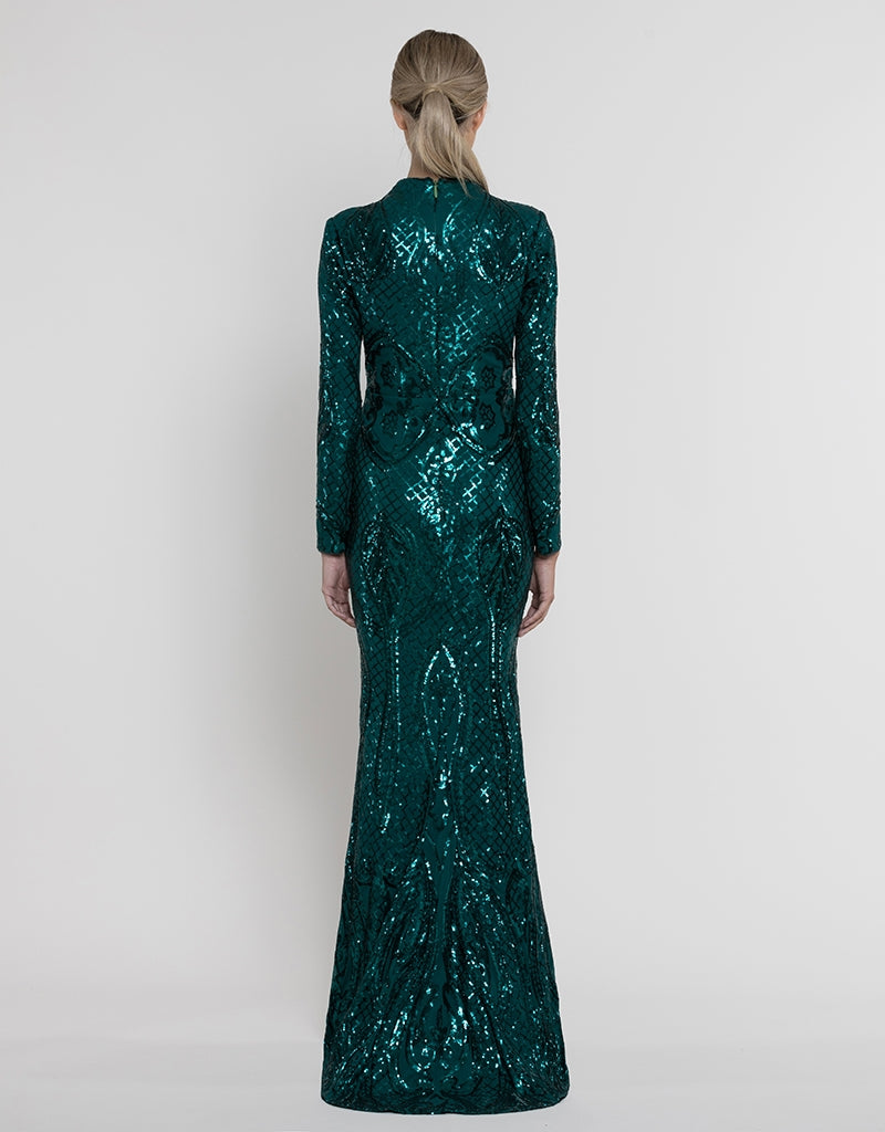 TASH SLEEVED PATTERN SEQUIN GOWN B37D13-L