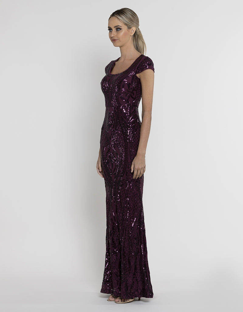 SIA CAP SLEEVE PATTERN SEQUIN GOWN B37D15-L