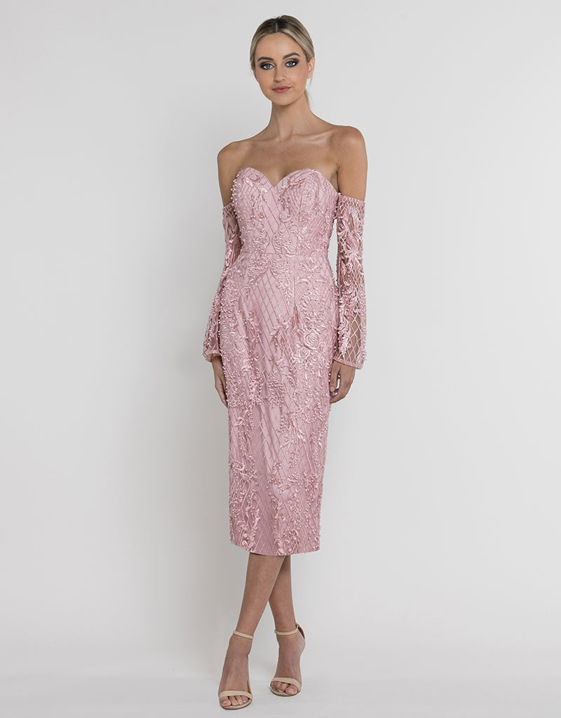 FIONA STRAPLESS BEADED MIDI B37D26-S