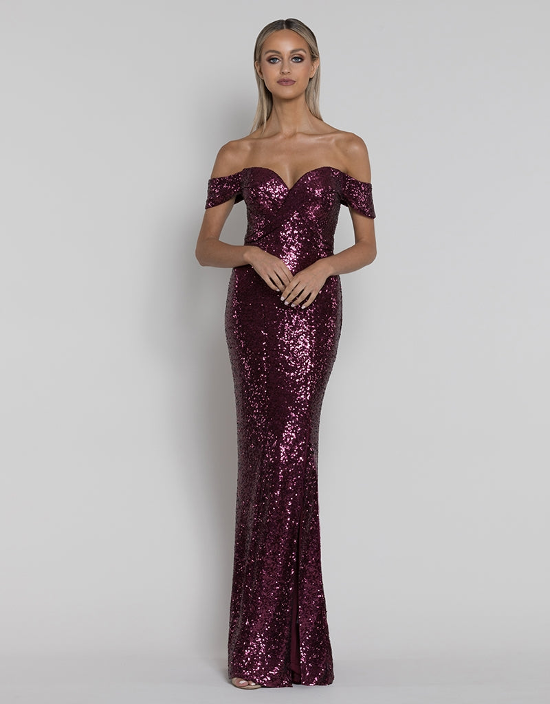 ROSIE OFF-SHOULDER SEQUIN GOWN B38D43L