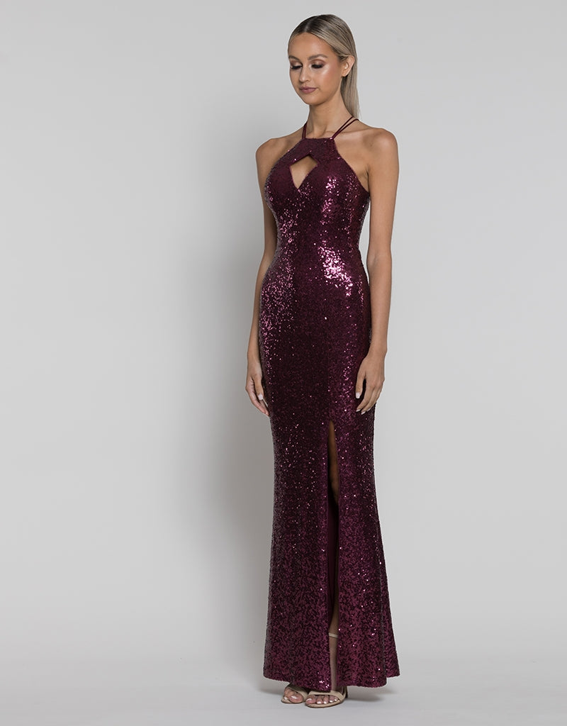 NIKKI DIAMOND CUT-OUT SEQUIN GOWN B38D44-L