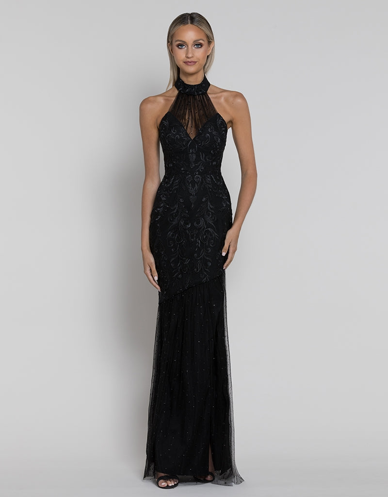MARTHA HIGH NECK FISHTAIL GOWN B38D30-L