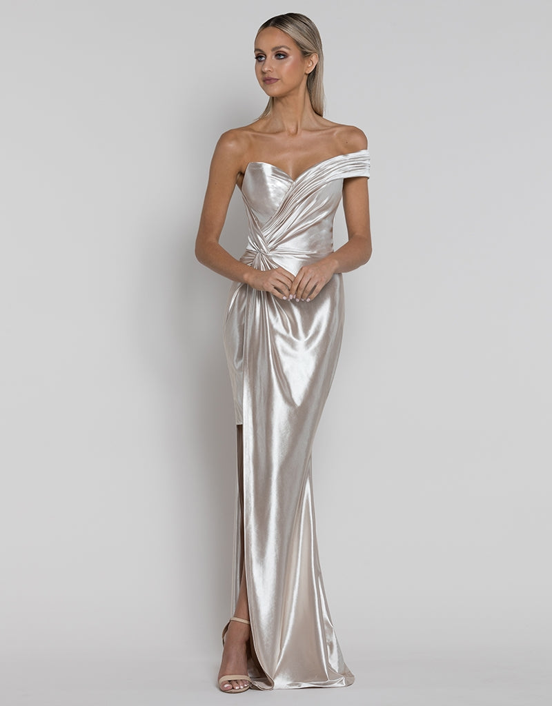 EVA ASYMMETRIC LIQUID DRAPED GOWN B38D70-L