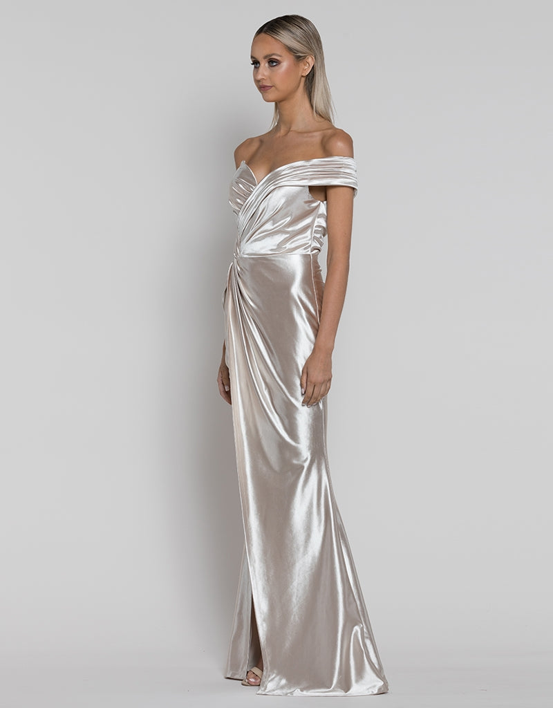 EVA ASYMMETRIC LIQUID DRAPED GOWN B38D70L