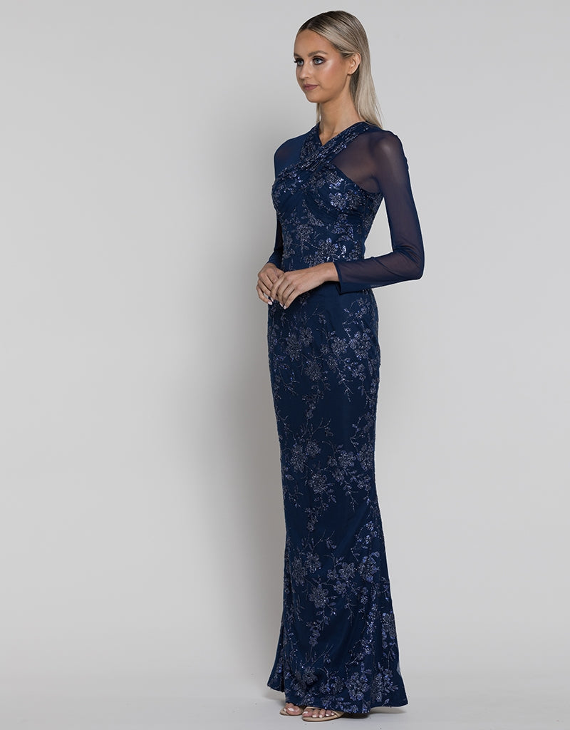GEORGIA LONG SLEEVE GLITTER GOWN B38D54-L