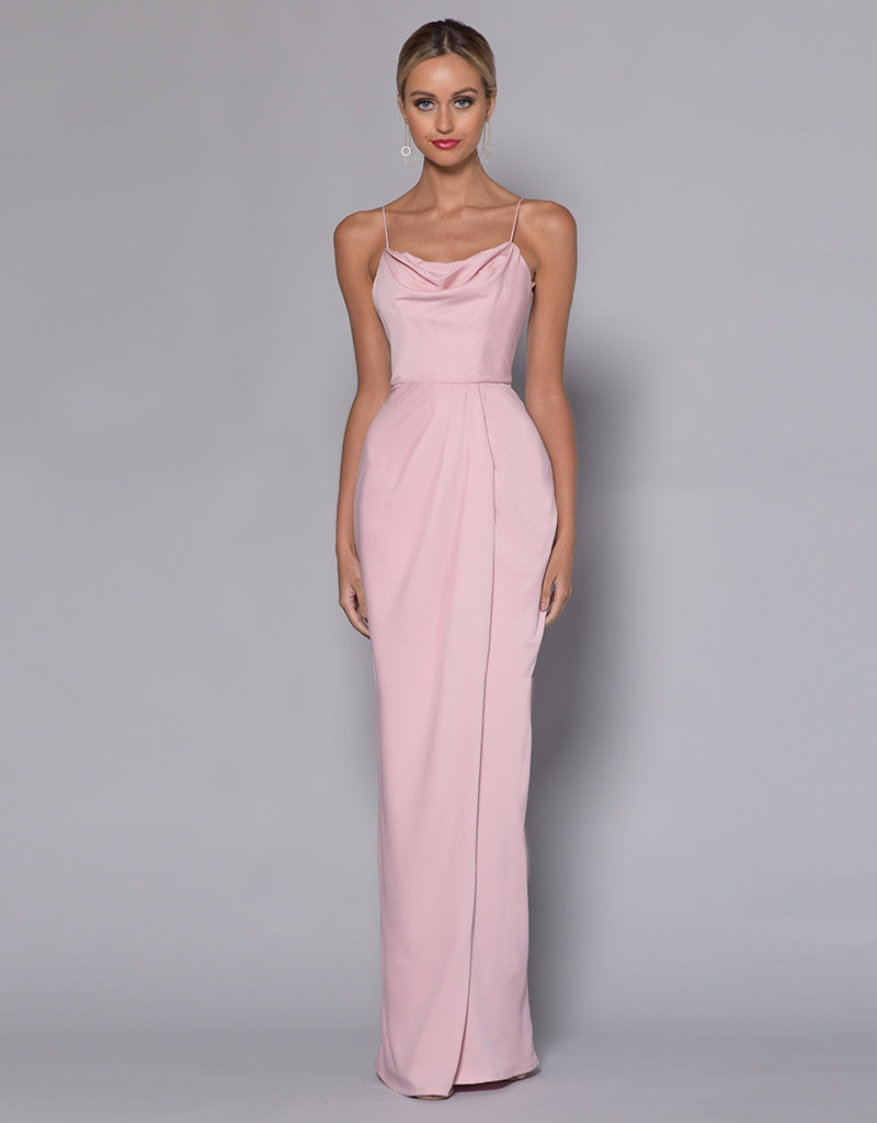 MADE-TO-ORDER // BELLE COWL NECK DRAPE TUCK MAXI BB33D36-C