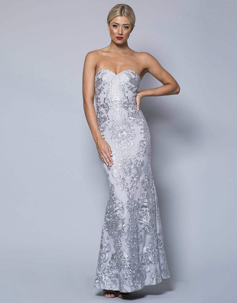 MADE-TO-ORDER // DANI STRAPLESS CORDED SEQUIN LACE GOWN B31D41-C