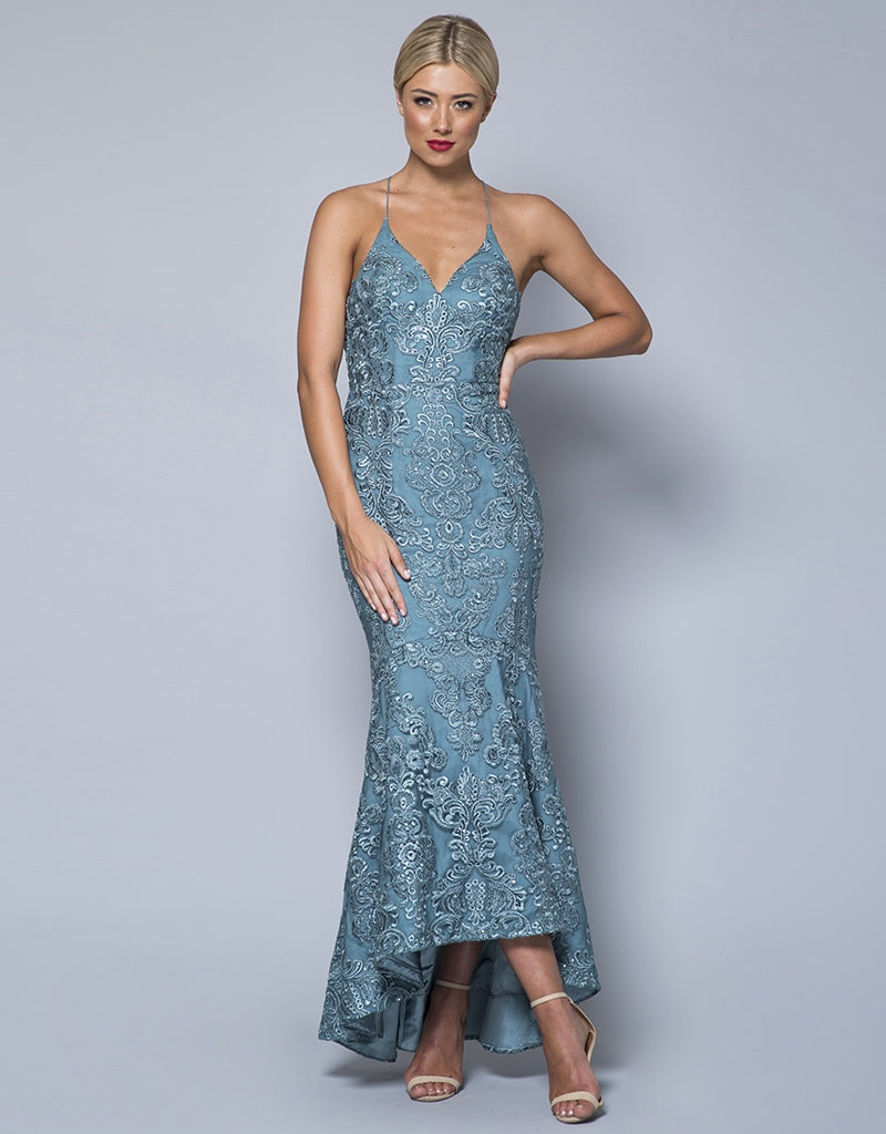 MADE-TO-ORDER // WHITNEY CORDED SEQUIN LACE MIDI B31D43-C