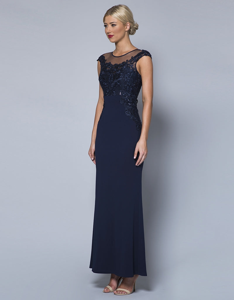 MADE-TO-ORDER // JADE CAP SLEEVE CORDED SEQUIN LACE GOWN B31D44-C