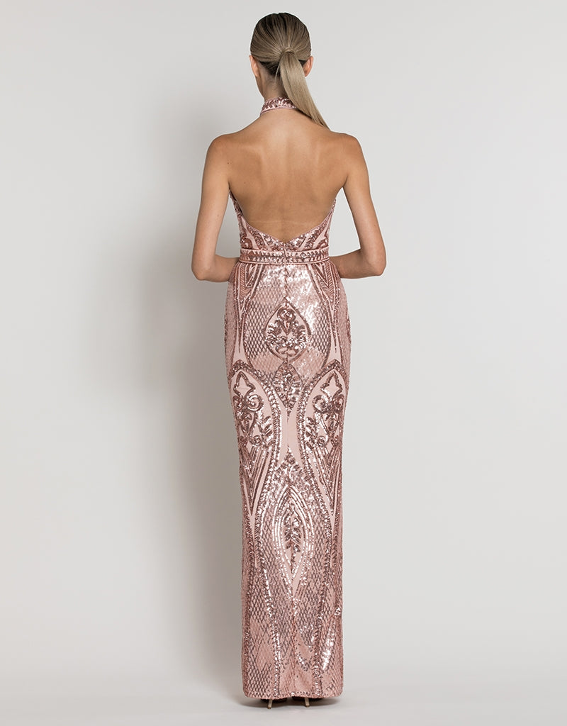 CHLOE HIGH NECK PATTERN SEQUIN GOWN B39D30-L