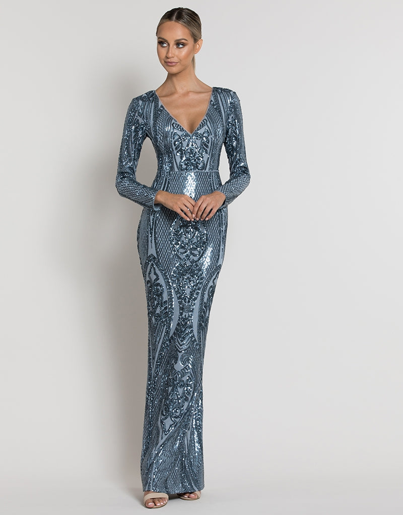 BELINDA SLEEVED PATTERN SEQUIN GOWN B39D28-L