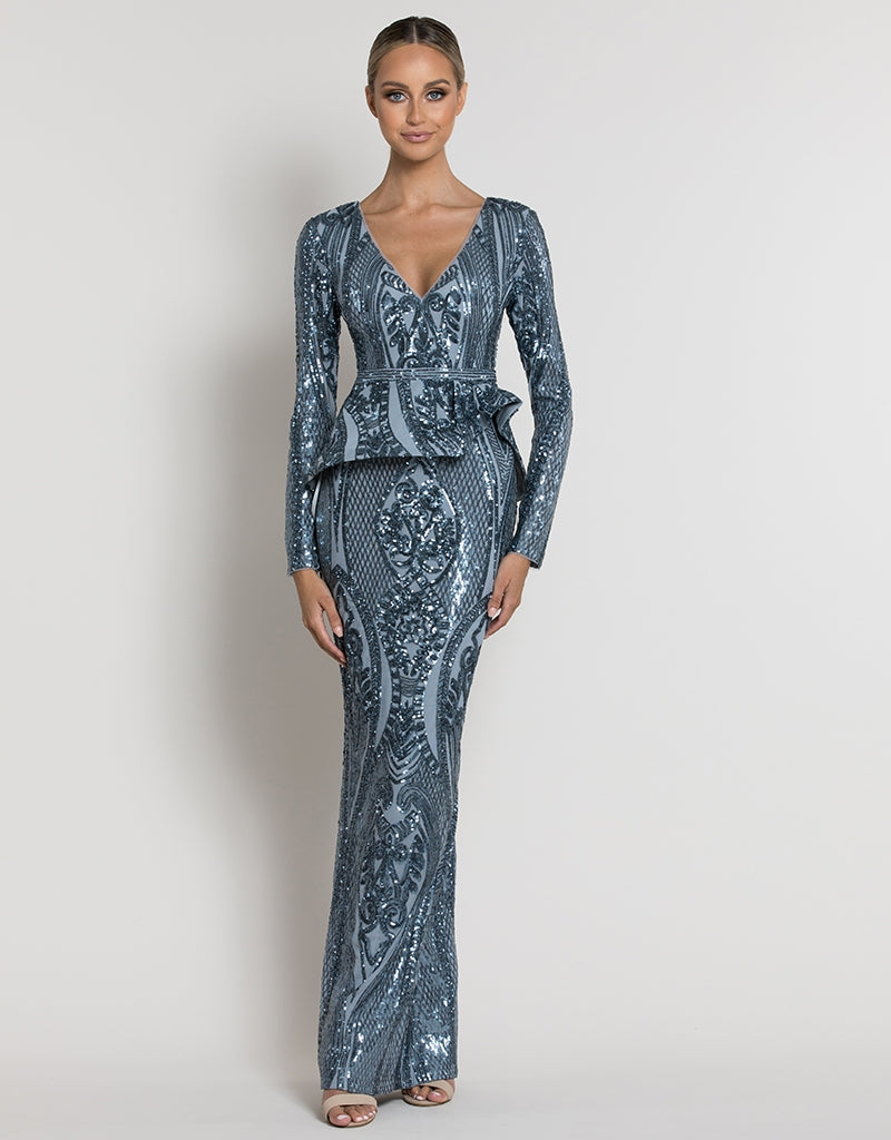 BELINDA SLEEVED PATTERN SEQUIN GOWN B39D28LP