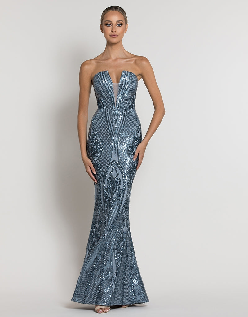 MAIA STRAPLESS PATTERN SEQUIN GOWN B39D26L