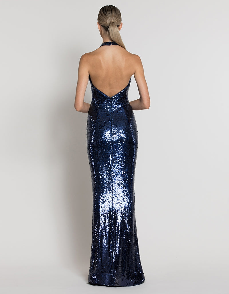 DEVA HIGH NECK SEQUIN GOWN B39D32-L