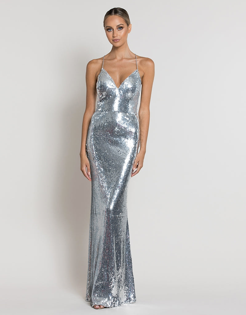 LEVANA V-NECK SEQUIN GOWN B39D35L