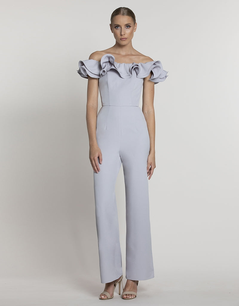 SARAH FRILL OFF SHOULDER JUMPSUIT