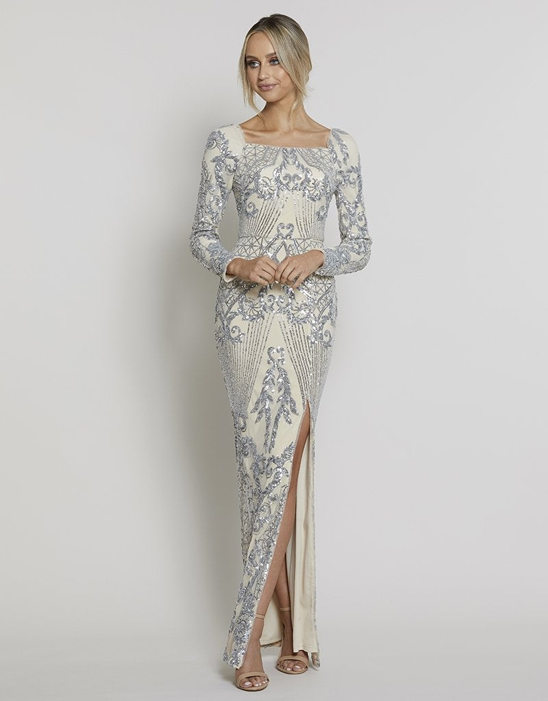 DAPHNE LONG SLEEVE GOWN- NO SPLIT IN SKIRT