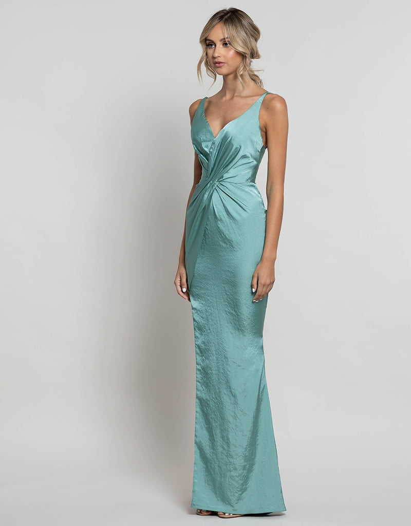 CHRISTINA WRAP SATIN GOWN B41D07