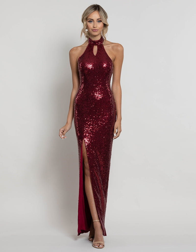 SAVANNAH KEYHOLE SEQUIN GOWN B41D18