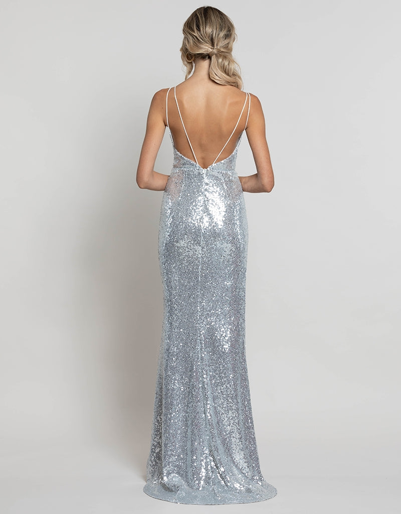 ZARA EXPOSED LEG SEQUIN GOWN B41D19