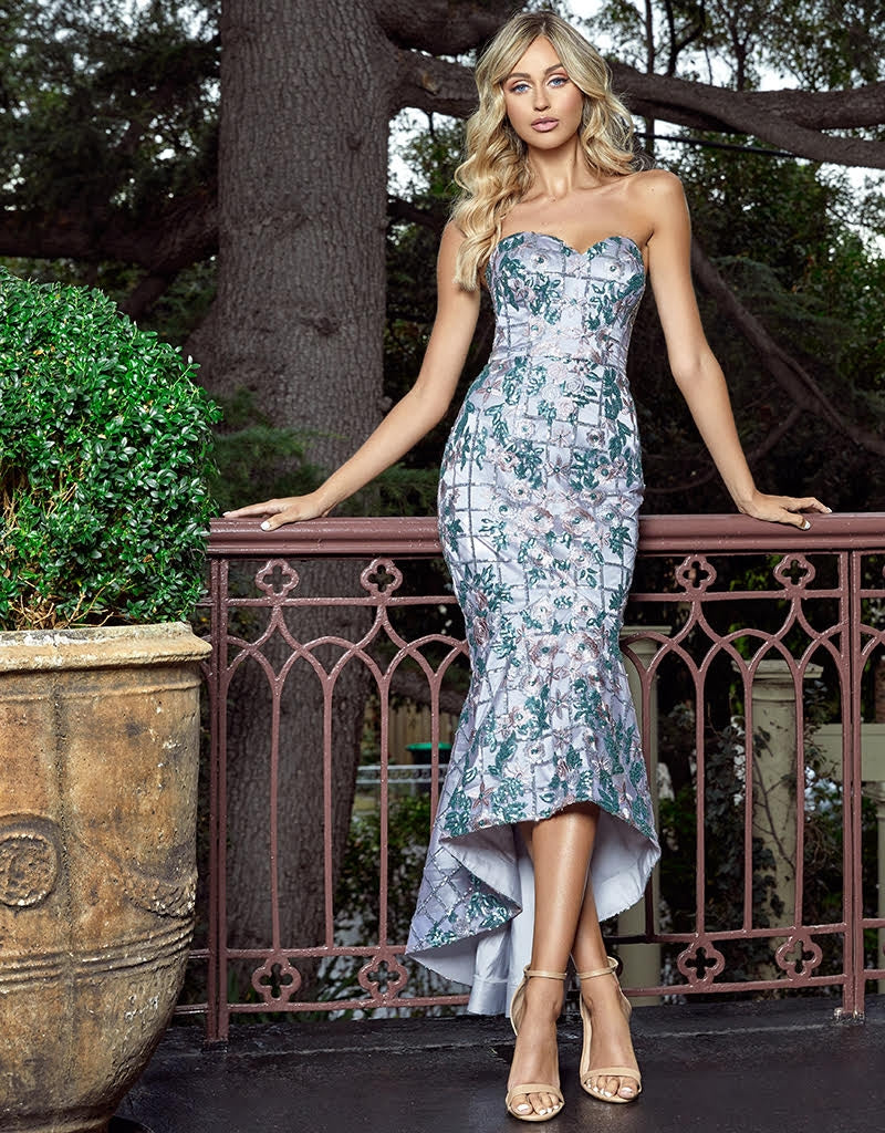 QUINN SWEETHEART FLOWER SEQUIN GOWN B41D14