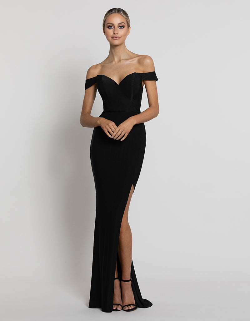 BILLIE OFF SHOULDER DRAPED GOWN B42D16L