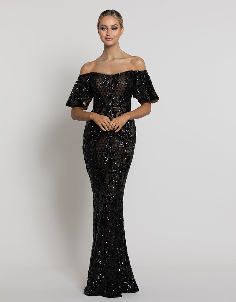 MINA PATTERN SEQUIN SLEEVED GOWN B42D38L
