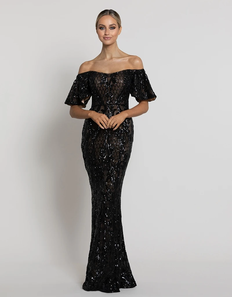 MINA PATTERN SEQUIN SLEEVED GOWN B42D38-L