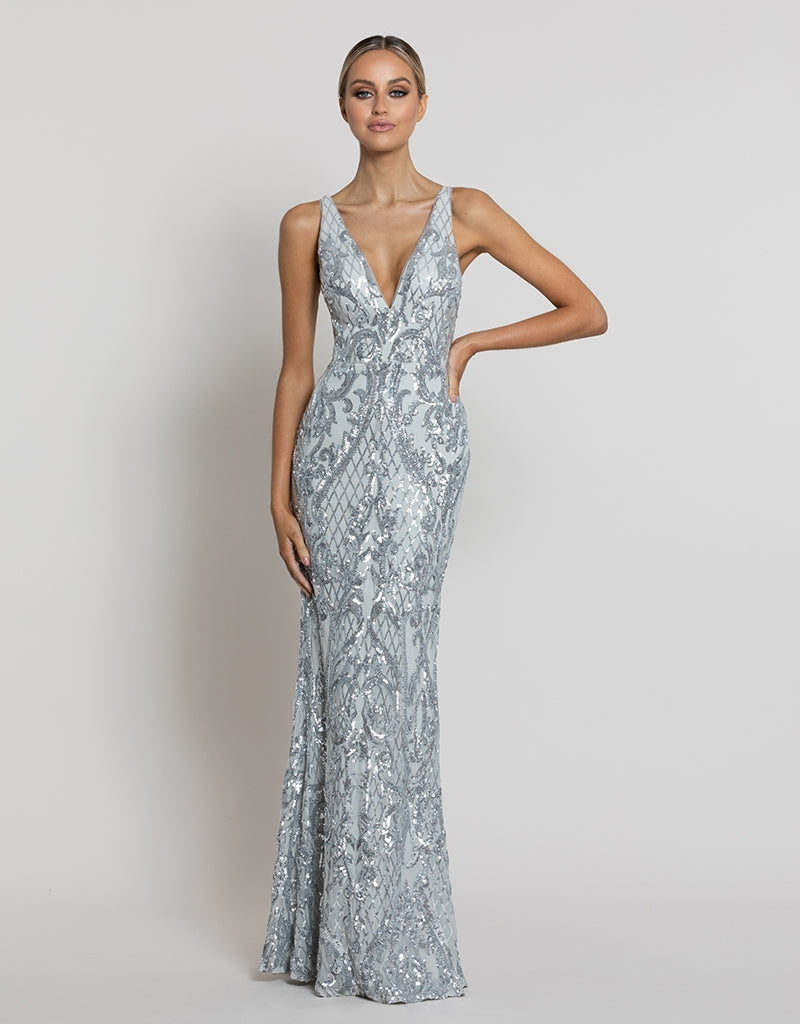 GRACE V-NECK PATTERN SEQUIN GOWN B42D39-L