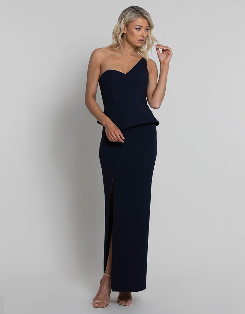 DAPHNE ONE SHOULDER PEPLUM MAXI L42D17L