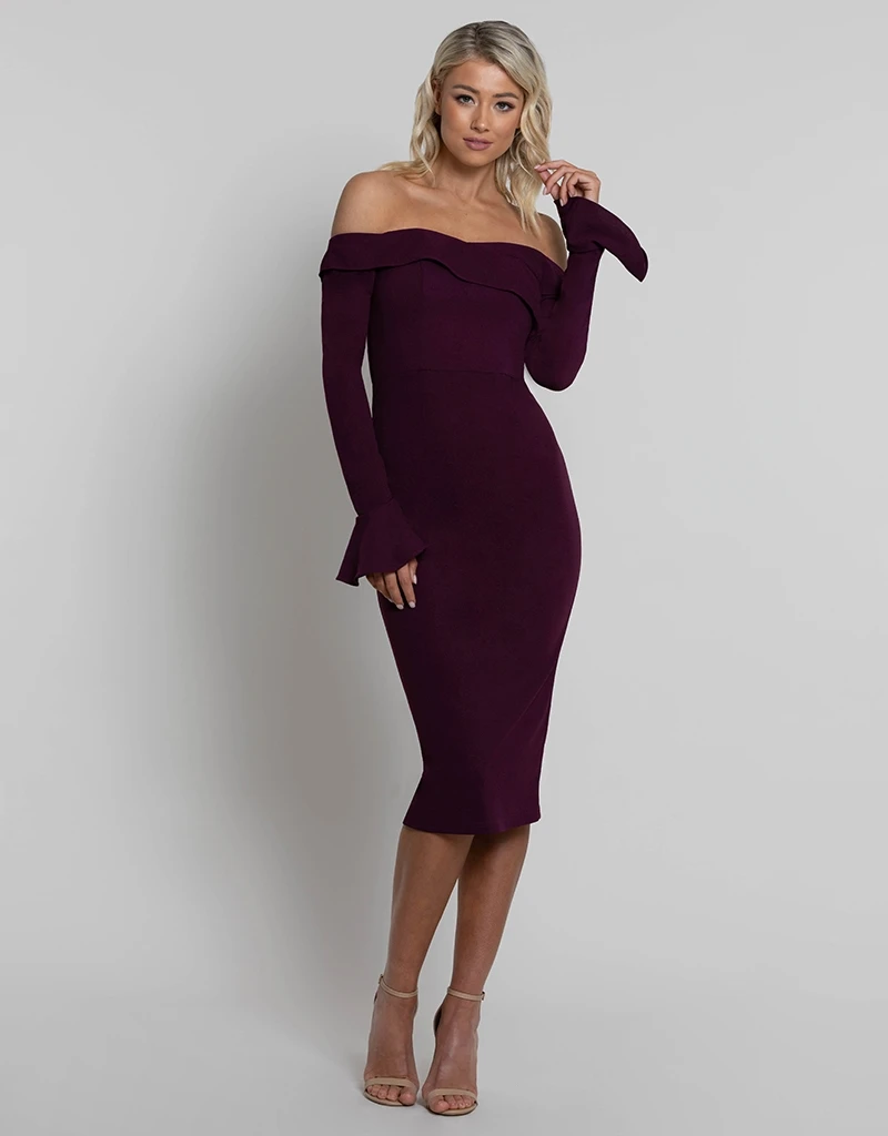 ZANA OFF SHOULDER MIDI L42D26-S