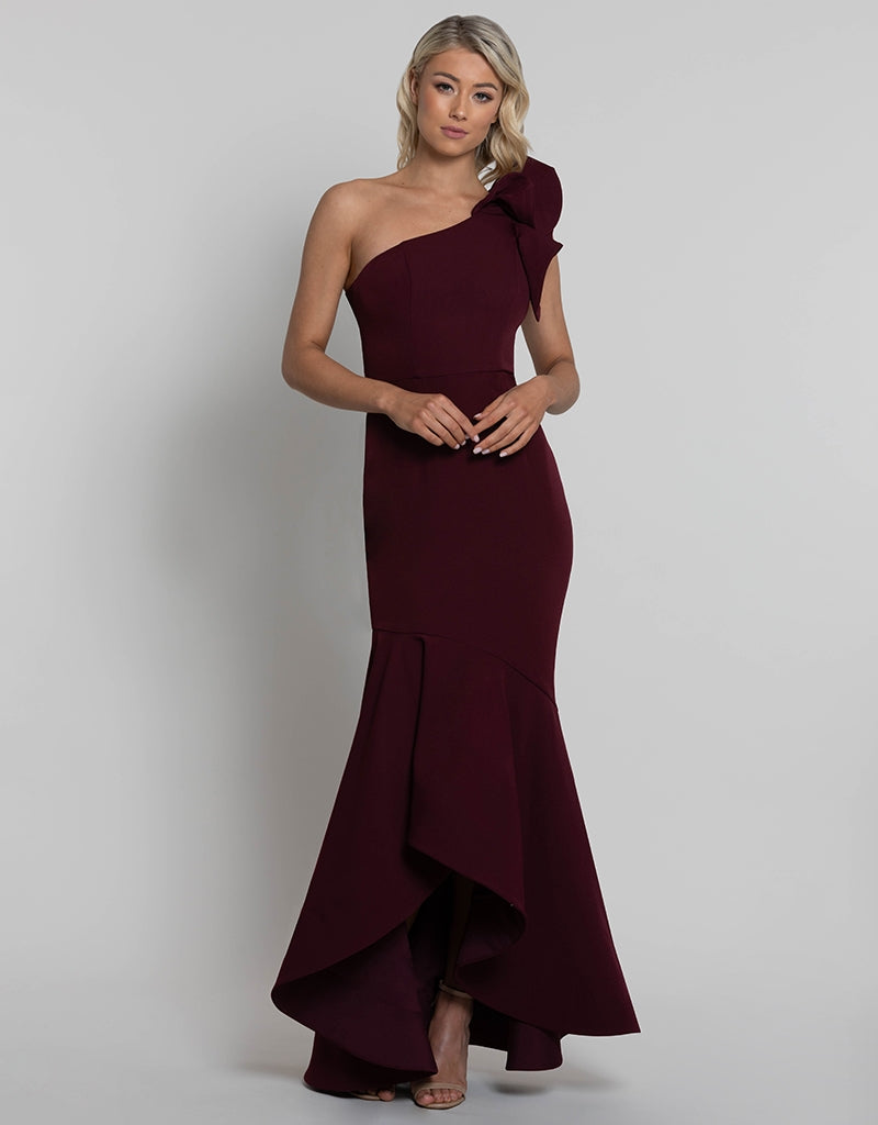 ALESSA ONE SHOULDER FRILL GOWN BB42D33-L
