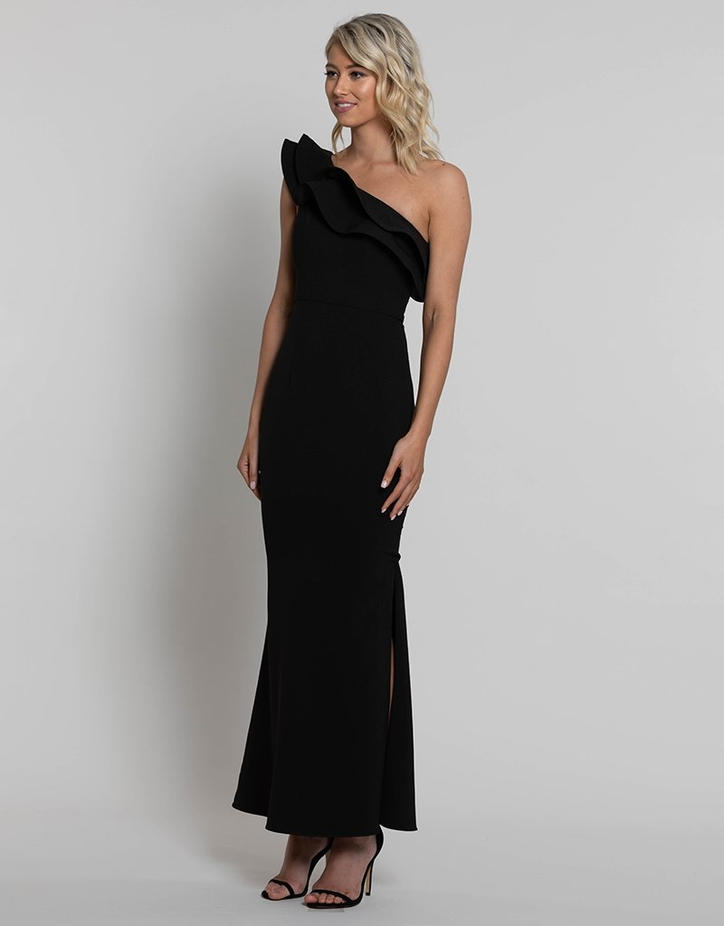 BAMBI FRILL ONE SHOULDER GOWN BB42D36L