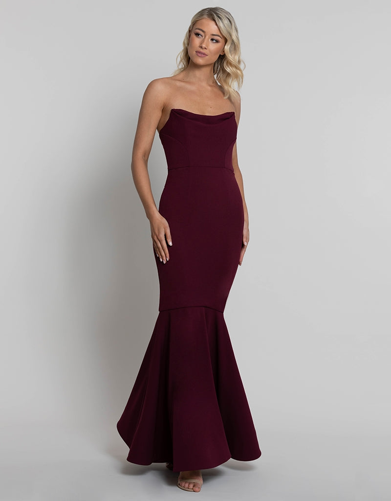 EMILIA STRAPLESS COWL NECK GOWN BB42D44-L