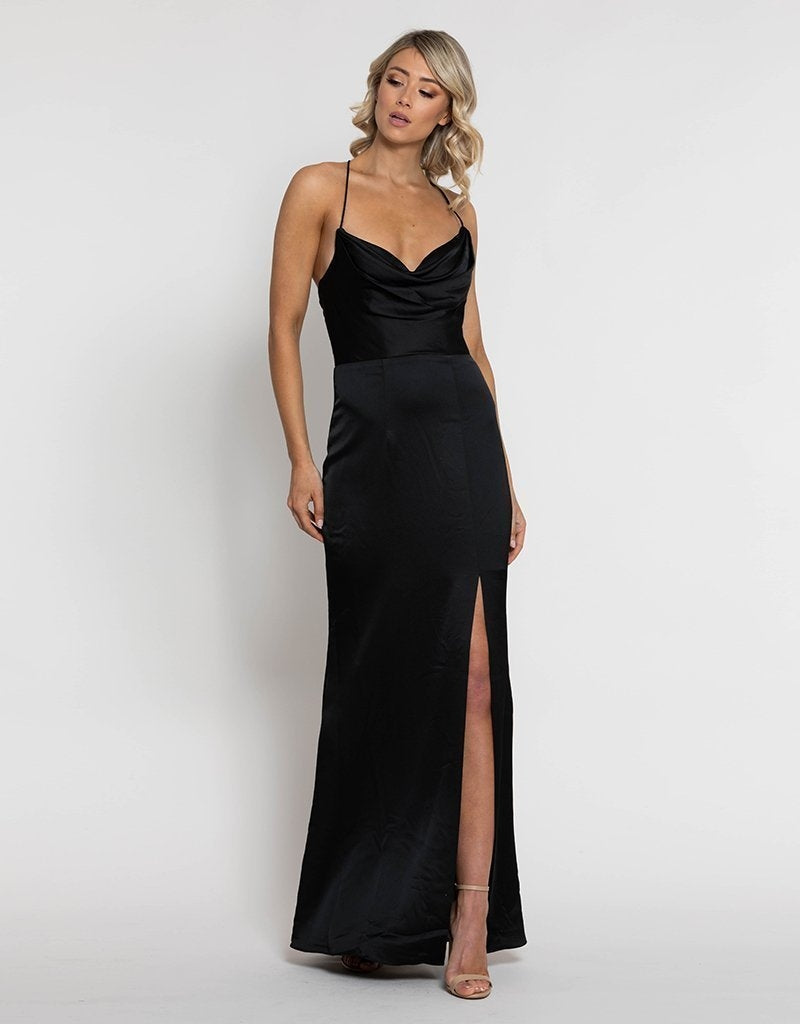 STEPHANIE COWL DRAPED SATIN GOWN B34D15-C