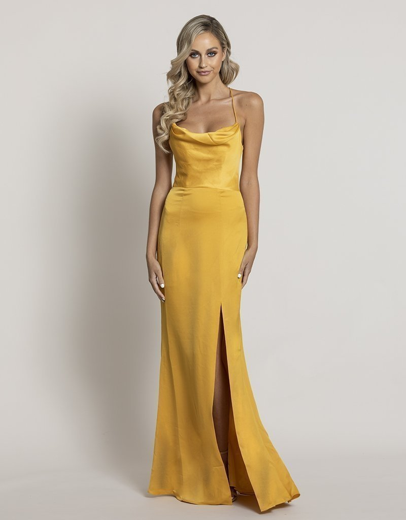 STEPHANIE COWL DRAPED SATIN GOWN B34D15L