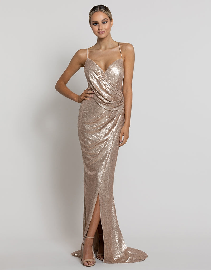 MADE-TO-ORDER // CHERUB DRAPE COWL SEQUIN GOWN BM100-SE