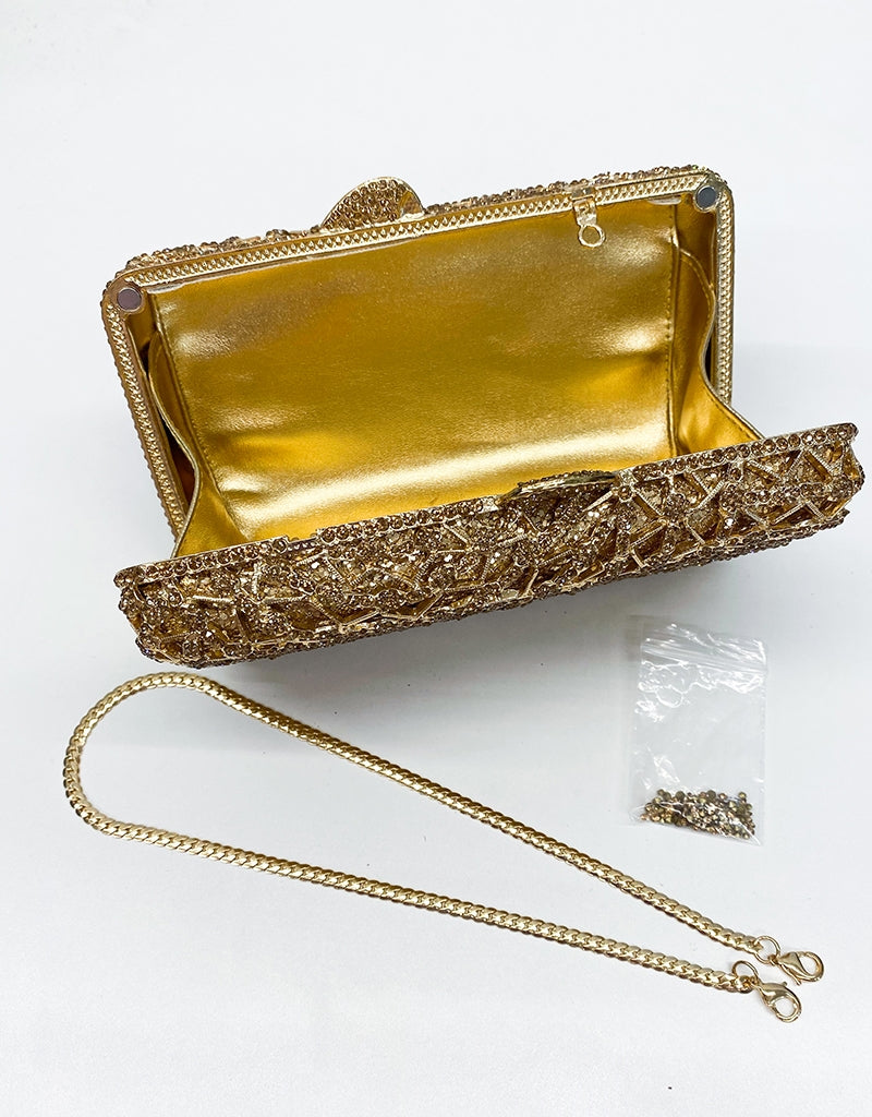 METAL RHINESTONE EVENING CLUTCH BAG1331