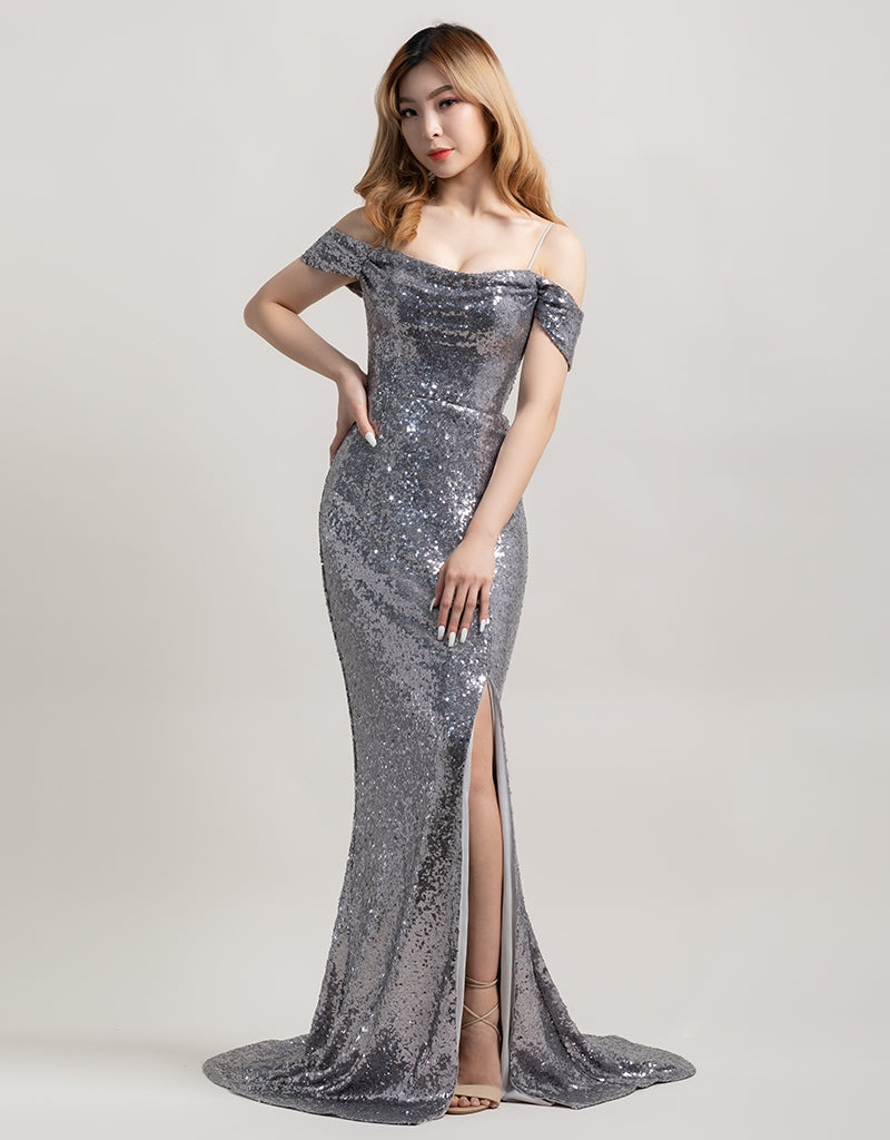 SALLY DRAPE SLEEVE SEQUIN GOWN B38D41-L