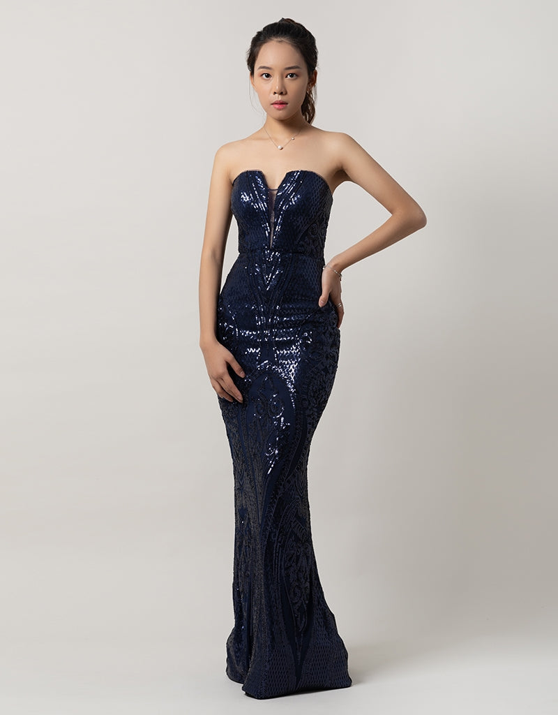 MAIA STRAPLESS PATTERN SEQUIN GOWN B39D26-L